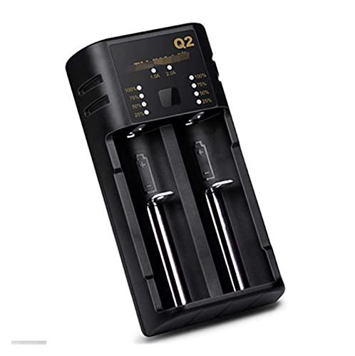 HANLILI kasu USB 18650 Cargador de batería Carga Inteligente 2 Slot Fit para baterías Recargables Li-Ion/Lithix 26700/26650/26500/22700/21700 (Color : Zwart, Socket Standard : USB Plug)