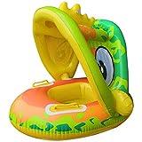 Aufblasbares Baby-Kleinkind-Float-Boot-Wasserspielzeug,Baby-Sommer-Schwimmen-Auto-Schwimmer,Baby-Pool-Schwimmer mit Sonnendach Aufblasbarer Säuglings-Baby-Pool-Schwimmer Wasserspielzeug,65*65*55CM