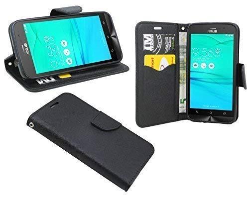 ENERGMiX Buchtasche kompatibel mit ASUS ZenFone Go (ZB500KL) Hülle Hülle Tasche Wallet BookStyle mit Standfunktion in Schwarz