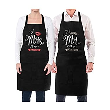 Mr & Mrs Est 2018 Couples Gift Wedding, Anniversary, Newlywed His & Hers Aprons Mr. Black OS/Mrs. Black OS