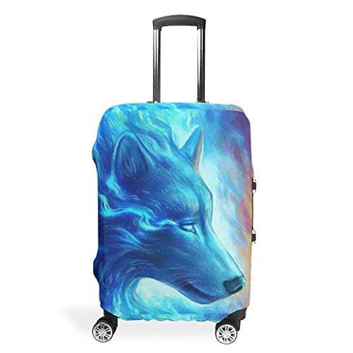 Wolf Animal-Mirror Travel Luggage Cover Durable Anti-Scratch Fits 18-32 Inch for Wheeled Suitcase Over Softsided White 26-28in