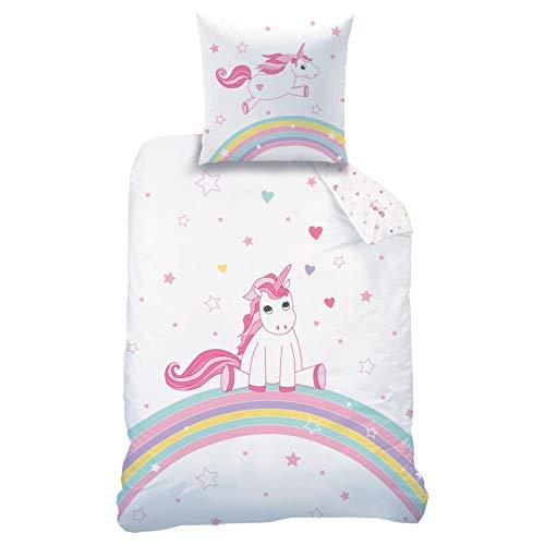 CTI Unicorn Flannel/Biber Bettwäsche Bettbezug 135x200 80x80 · Kinderbettwäsche für Mädchen · Einhorn Regenbogen · 2 teilig Wendemotiv · 1 Kissenbezug 80x80 + 1 Bettbezug 135x200 cm