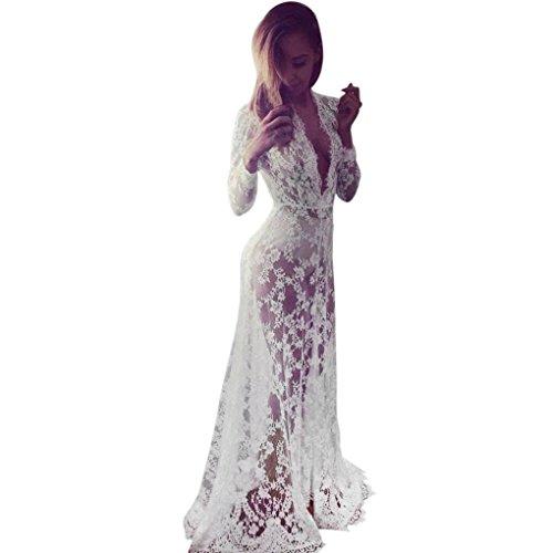 Elecenty Damen Solide Chiffon Bademode Sommerkleid Bikini Vertuschen Badeanzug Kleider Frauen Mode Lose Kleid Minikleid Langarm Kleidung Spitzekleid Strandkleid (S, Weiß)
