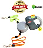 Wigzi Two Dog Retractable Non-Tangling Dog Leash with Innovative Gel Handle - Walk 2 Dogs Up to 50 lbs Each - 10 ft Leads
