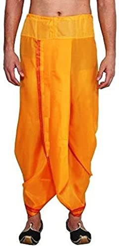 Men Readymade Stitched Ready To Wear Cotton Dhoti Pants Saffron Yellow Color Free Size