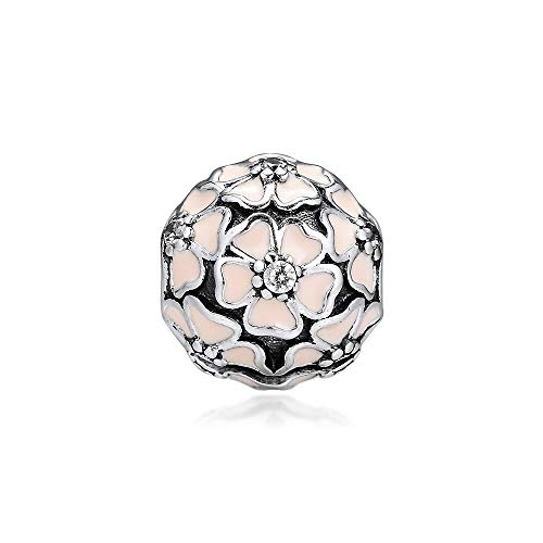 Diy Cherry Blossom Clip Charm Silver 925 Sterling Pink Enamel Beads For Jewelry Making Fit Charms Bracelet