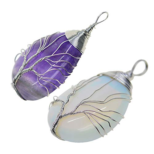 LOVIVER 2pcs Tree of Life Crystal Gemstone Wire Wrapped Pendant Valentine Gifts
