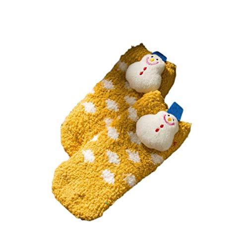 Amosfun Baby Weihnachten Winter warme Fleecesocken für Kinder Kleinkind Kleinkinder (Schneemann gelb)