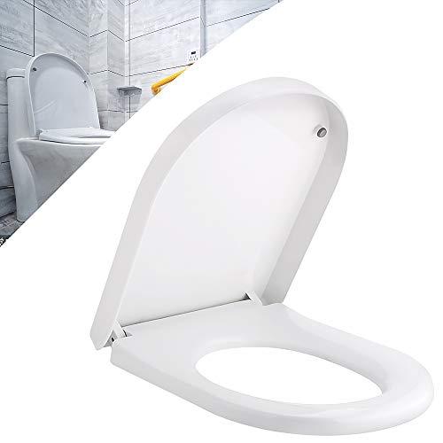 EXLECO Toilettendeckel U-Form Weiß WC Sitz mit Absenkautomatik Duroplast WC Deckel Abnehmbar Toilettensitz Edelstahl-Befestigung Klobrille