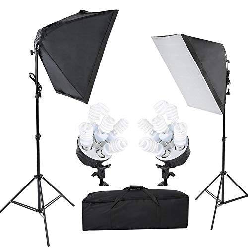 Luces de estudio Softbox de 50X70 cm, kit de iluminación de lámpara...