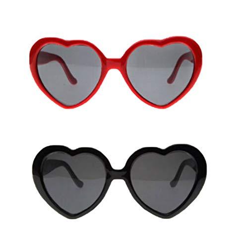 LUOEM 2Pc Mode Sonnenbrille Pfirsich Herz Spezialeffekt Brille Interessante Brille Lichtbeugungsbrille für Bar Nachtclub (Rot/Schwarz)