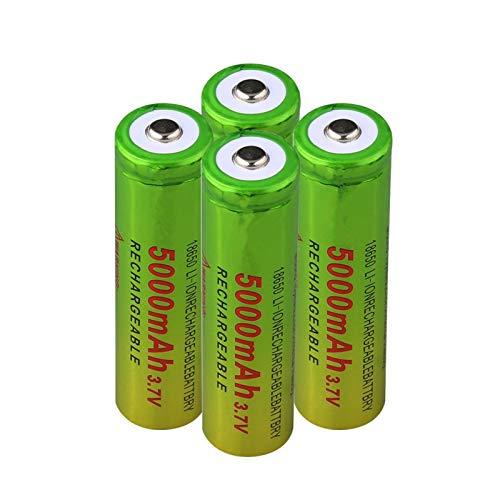 hsvgjsfa Batería De Litio De Iones De Litio De 3.7v 5000mah 18650, Carga De BateríAs Recargables para Linterna Verde + Amarillo 4pcs