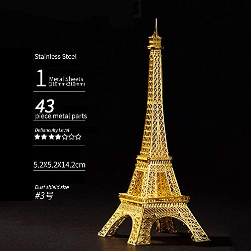 MIKEWEI 3D Puzzle, Three-dimensional Metal Puzzle Creative Assembling Toy Decoration, Assembled Art Decoration Human History - Paris Eiffel Tower