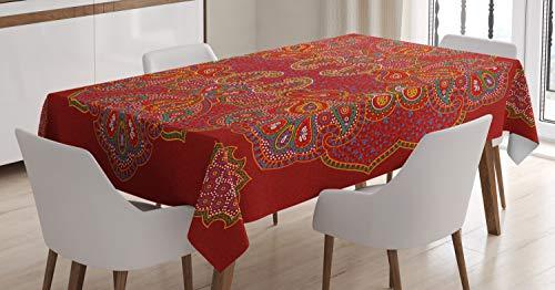 ABAKUHAUS Red Mandala Tischdecke, Persischer Paisley, Für den Inn und Outdoor Bereich geeignet Waschbar Druck Klar Kein Verblassen, 140 x 200 cm, Bordeauxrot Weiß und Blau