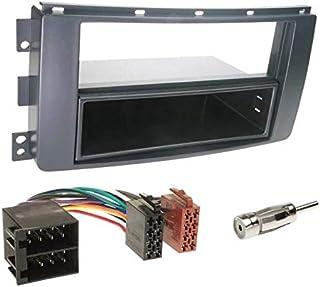 Sound-way Kit Montaggio Autoradio, Mascherina 1 DIN con Vano Portaoggetti, Cavo Connettore ISO, Adattatore Antenna compati...