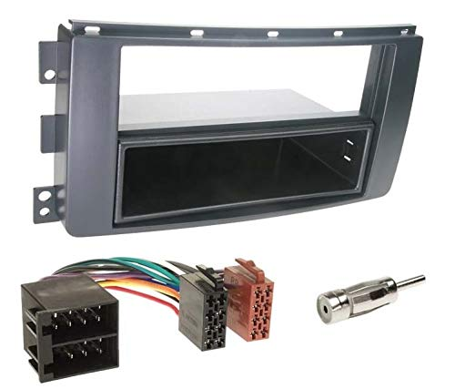 Sound-way Kit Montaggio Autoradio, Mascherina 1 DIN con Vano Portaoggetti, Cavo Connettore ISO, Adattatore Antenna compatibile con Smart Car ForTwo 2007-2010