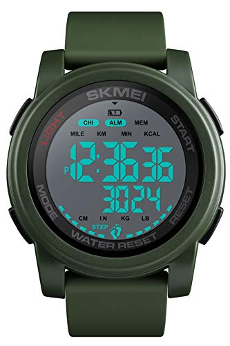 Herren Digital Sportuhr Schrittzähler 5 ATM Wasserdicht Kalorienzähler Militär Armbanduhr Alarm Fitness Tracker