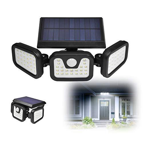 Luz Solar LED Exterior, IP67 6500K 50W 74 Luces Solares de Jardín al Aire Libre, Rango de irradiación de 270° ajustable, Sensor de movimiento, iluminación 3 modos, Foco solar para exteriores (1 pieza)