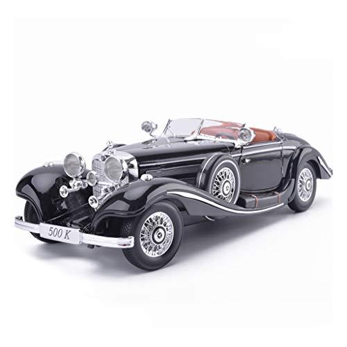 CWHMYB Modellauto Mercedes Benz 500K Classic Retro 1:18 Simulation Simulation Druckgusslegierung statisches Spielzeugauto-Modell Auto Model (Color : Black)
