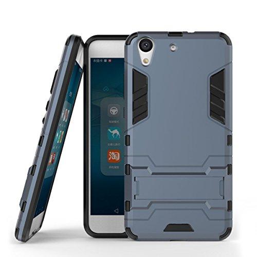 Funda Huawei Y6 II/Honor 5A, CHcase 2in1 Armadura Combinación A Prueba de Choques Heavy Duty Escudo Cáscara Dura PC + Suave TPU Silicona Rubber Case Cover con Soporte para Huawei Y6 II -Black