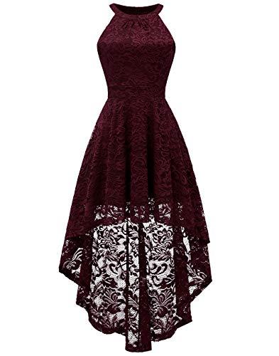 BeryLove Damen Vokuhila Cocktail Kleid Elegant Halter Spitzenkleid Brautjungfern Blumenmuster BLP7028BurgundyXS