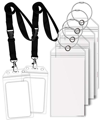 GreatShield Luggage Tag Holders and Cruise ID Badge Holders w/Lanyard, Zip Seal & Steel Loops for Princess, Carnival, Costa, Holland America, P&O & Norwegian (4 Luggage Tag Holders, 2 Badge Holders)