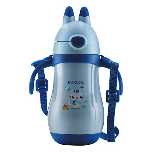 Borosil - Hydra Happy Sipper - Vacuum Insulated Stainless Steel Flask Water Bottle, (Blue, 260ML)