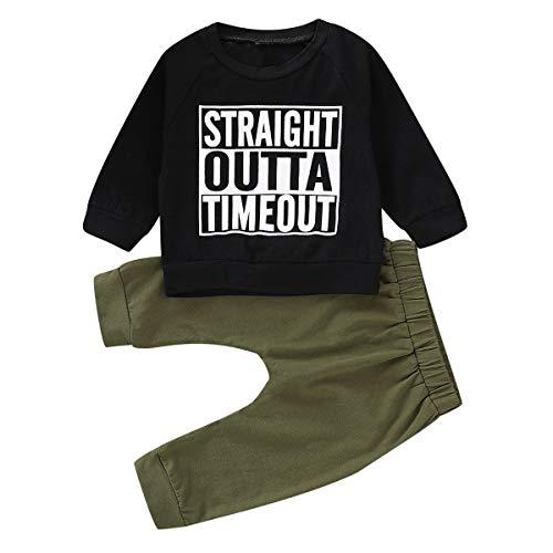HaiQianXin Chłopiec maluch strój na co dzień zestaw ubrań z nadrukiem litera bluzka + spodnie (rozmiar: 24 M-48 M)