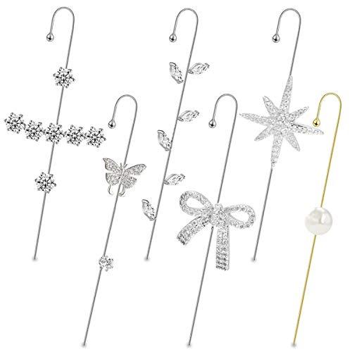 15Piezas de gancho para envolver la oreja Pendientes de gancho para las mujeres Niñas de la perforación de la oreja del cartílago Clip On Pendientes (6pcs-Silver)