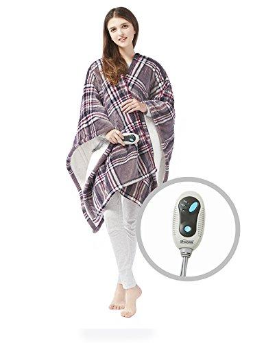 Beautyrest Ultra Soft Sherpa Berber Fleece Electric Poncho Wrap Blanket Heated Throw with Auto Shutoff - 5 Years Warranty, 50' W x 64' L, Grey Plaid