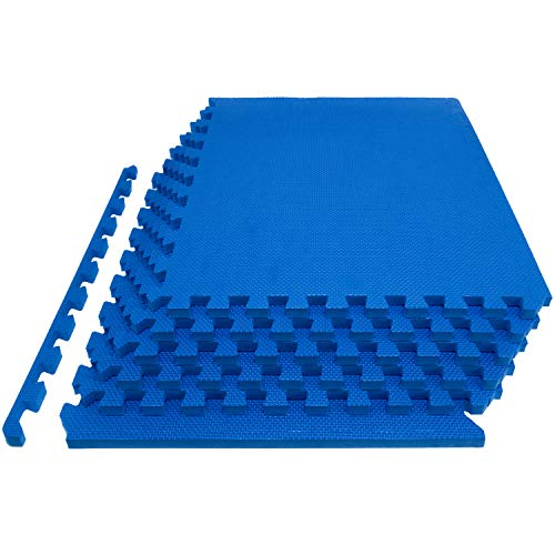 """Prosource Fit Extra Thick Puzzle Exercise Mat 1"""", EVA Foam Interlocking Tiles for Protective, Cushioned Workout Flooring for Home and Gym Equipment, Blue"""
