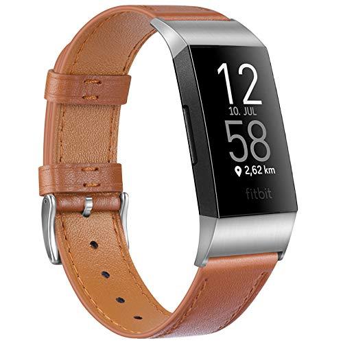 """Wanme Kompatibel mit Fitbit Charge 4 Armband/Fitbit Charge 3 Armband Lederarmband Edelstahl Schnalle Ersatzarmbänder für Fitbit Charge 3 und Fitbit Charge 4 (Braun, 5.5\""""-8.1\"""")"""