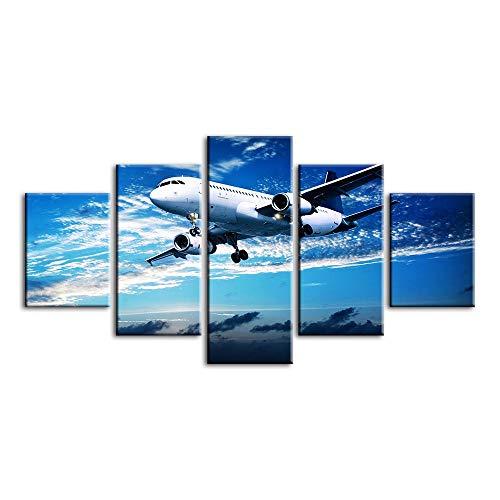 YANGMAN-ART 5 paneeldoek-wand-kunst-vliegtuig in de blauwe hemel afbeelding vliegen uitgerekt en ingelijste Aircraft schilderij voor decoratie thuis klaar om op te hangen