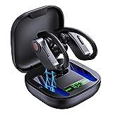 Auriculares Inalambricos Deportivos - Audifonos Bluetooth V5.1 con 40H de Reproduccion Auriculares Gancho con Tecnología IPX7 Resistentes al Agua y Display LED Compatible con Todos los Smartphones