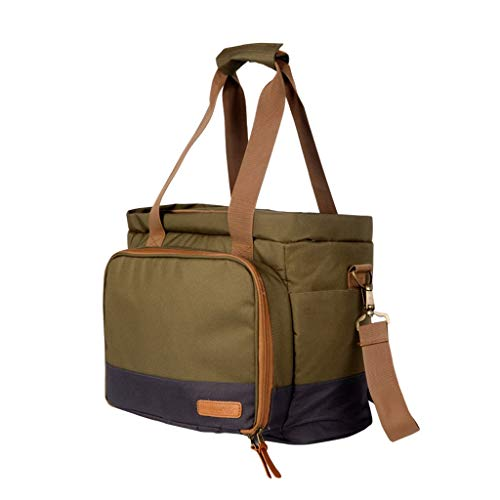 RYCB Outdoor Thermische Isolatie Koude Picknick Tas, 20 L Grote capaciteit, Gemakkelijk te dragen Schoudertas, Donker Groen