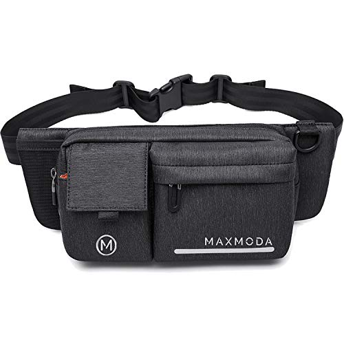MAXMODA Fanny Pack - Dog-Walking, Hiking, Running, Hiking Waist Bag for Men and Women - Belt Pouch with Pockets for Phone, Wallet, Dog Treats - Headphone Jack Doubles as Dispenser for Poop Bags(Black)