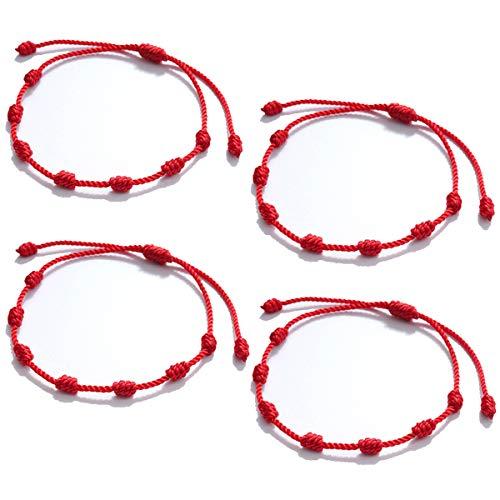 Penta Angel 10Pcs Red Kabbalah Hand String Bracelet Adjustable Braided Good Luck Cord Strap for Protection Success Friendship Graduation Birthday Lovers Gift For Men Women Girls Boys