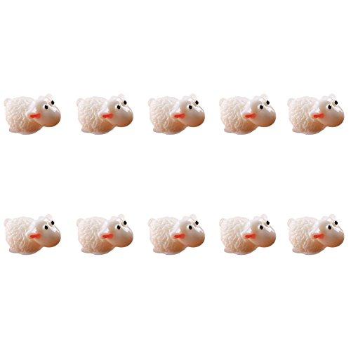 Kentop Lot de 10 mini mouton en résine pour décoration de jardin