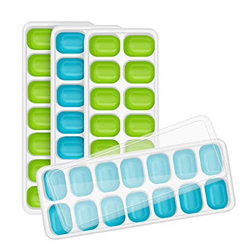 HIPIFUN Ice Cube Tray 4 Pack with Spill-Resistant Removable Lid,Easy-Release Silicone & Flexible BPA Free Save Space and Dishwasher Safe 14-Ice Cube Trays,for Whiskey and Cocktails Drinks