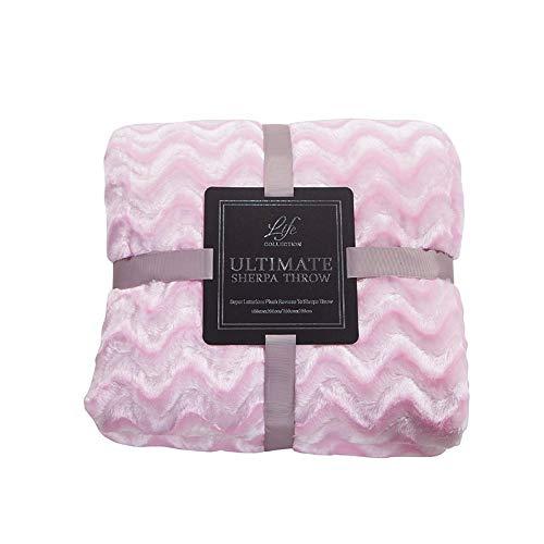 Crystallly 【High End Layer Deken Winter flanellen deken Vouwtapijt enkele dubbele eenvoudige stijl verdikking, Chanel poeder, 150 cm 200 cm 200 cm 230 cm