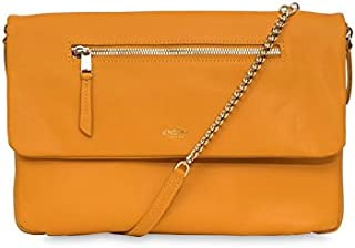 Knomo Elektronista 10 Inch Leather Clutch With Chain Strap Briefcase, 28 cm, Tumeric