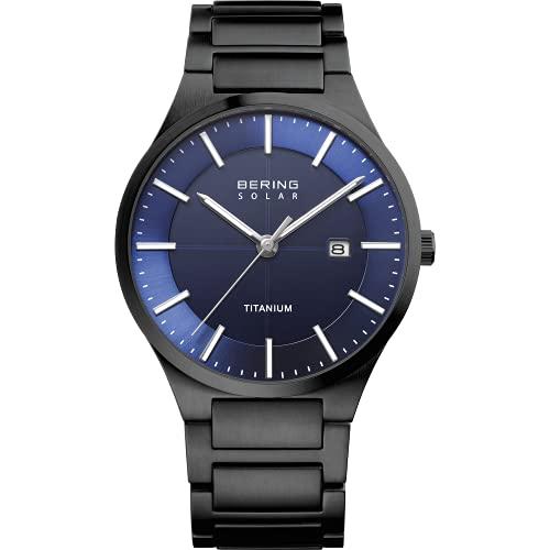 BERING Herren Analog Quarz Solar Collection Armbanduhr mit Titan Armband und Saphirglas