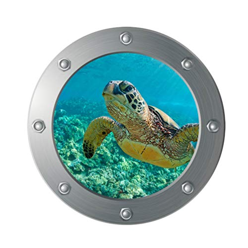 Vosarea 3D Sea Life Wandaufkleber Schildkröte U Boot Fenster Fliesenaufkleber Unterwasser Welt Fliesensticker Maritim Wandtattoo Bullauge Deko für WC Bade Wohnzimmer Schlafzimmer
