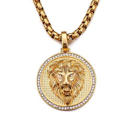 Beydodo Kette Edelstahl Anhänger Löwe Zirkonia Halskette Herren Gold Freundschaftskette