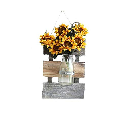 FICI muur opknoping gedroogde bloem glas decoratie hout hydrocultuur plant fles bruiloft decoratie houten bord glazen fles, geel