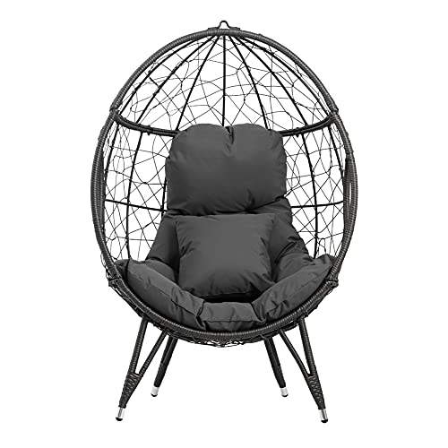 Crestlive Products Patio Wicker Egg Chair with Cushion and Pillow, PE Rattan Hanging Basket Lounge Chair with Legs, Teardrop Cuddle for Indoor Outdoor Bedroom Garden Deck Balcony (Dark Gray)