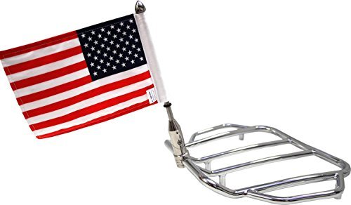 Pro Pad RFM-FLD5 Rear Folding Motorcycle Flag Mount Tour Pack with USA Flag, Push-Button-to-Fold-Flag Mount Fits 5/8