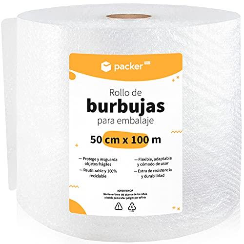 packer PRO Rollo Burbujas Embalaje de Plástico, 50cm Ancho y 100m longitud