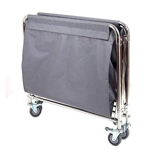 LJWJ Carts,Storage Car Service Car Utility Vehicle Multifunction Portable Trolley Home Cart Tool Folding Linen Cart with Ppr Universal Wheel, Grey Hotel/Lobby Storage Trolley, Space Saving &Amp; Prac