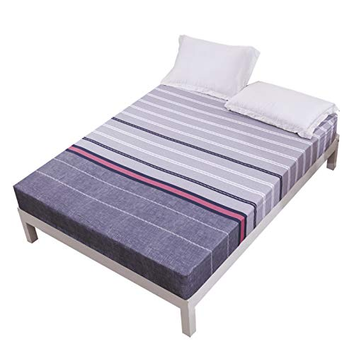 Fashionable And Simple Checkered Striped Bed Sheet, King Size Soft And Comfortable Bed Sheet For All Seasons, Single Sheet Home Textile With Elastic Corners
